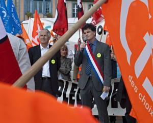 Paul Molac à la manifestation des salariés de Doux.