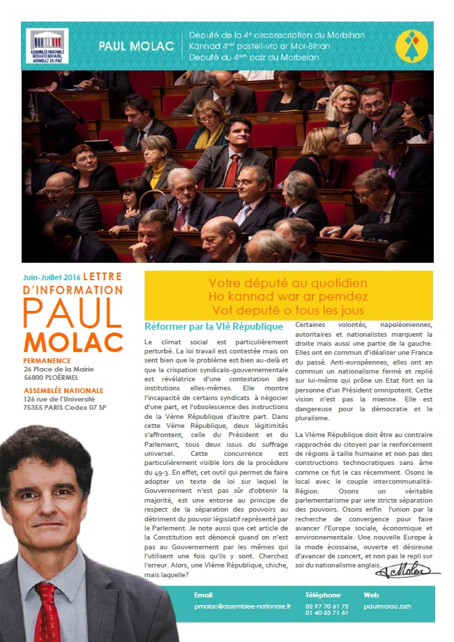 Page 1 Newsletter juin 2016