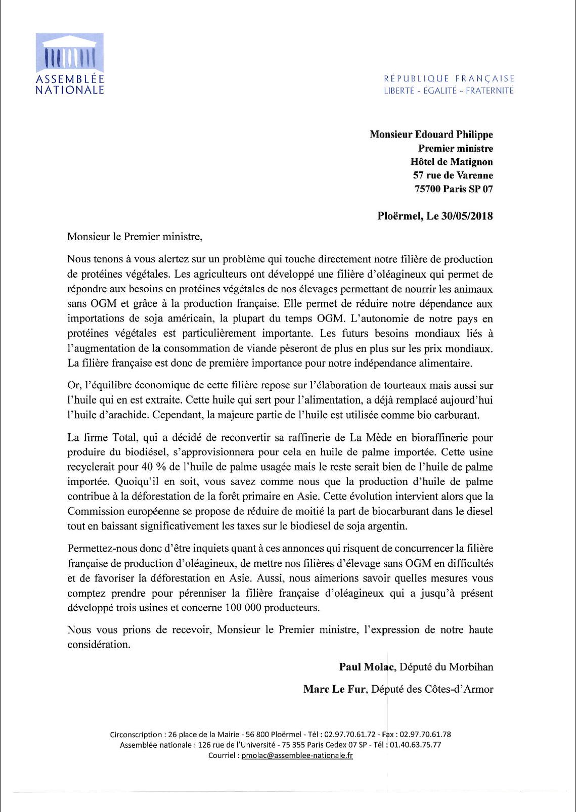 Lettre au Premier ministre sur l'importation d'huile de palme par Total